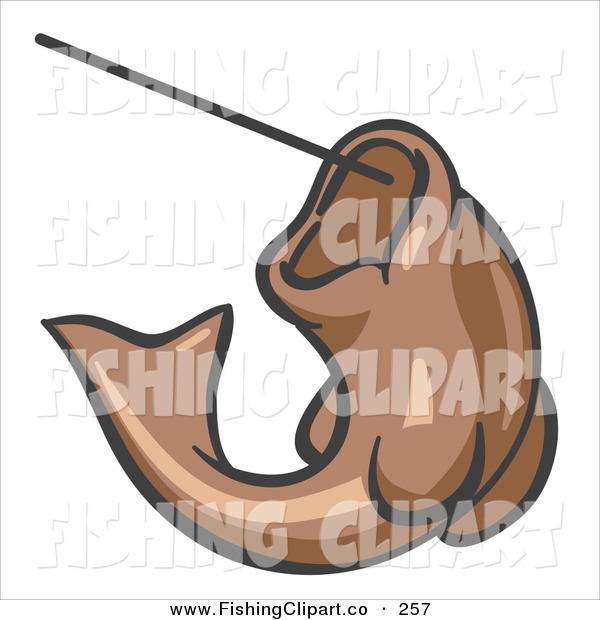 Clip Art of a Brown Trout Fish Jumping up and Biting a Hook on a Fishing Line