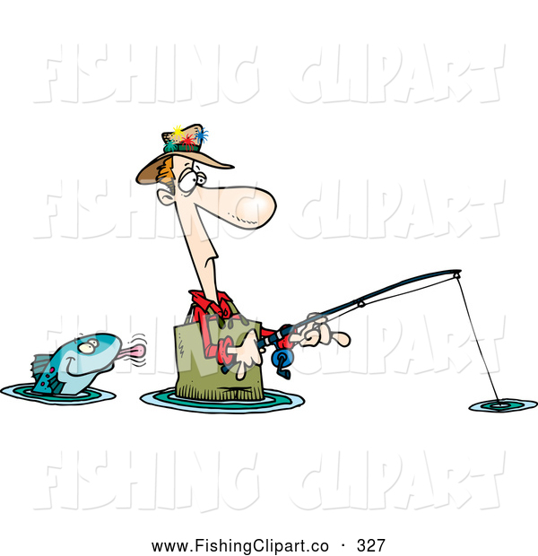 Clip Art of a Cartoon Fish Sticking His Tongue out at a Wading White Fisherman