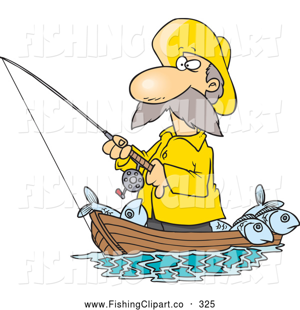 Clip Art of a Cartoon Fisherman in Yellow Rubber Gear Standing in His Boat