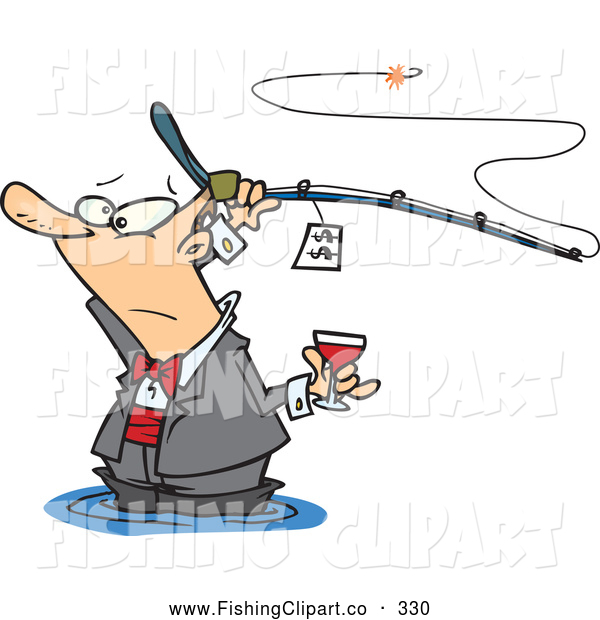 Clip Art of a Cartoon Man Fancy Fishing with Wine, on White