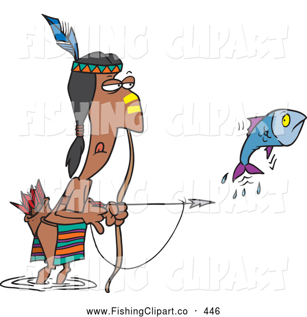 Clip Art of a Cartoon Native American Man Fishing with His Bow and Arrow