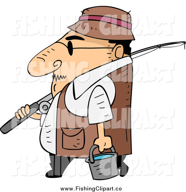 Clip Art of a Cartoon Short White Guy Walking in Profile with Fishing Gear