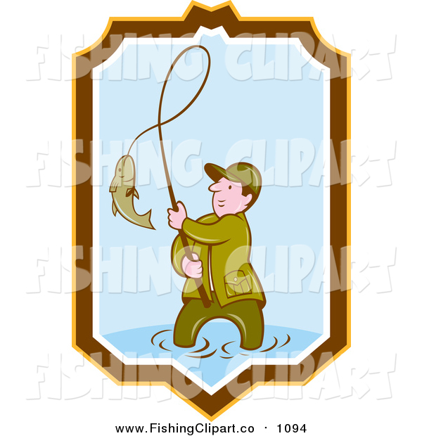Clip Art of a Cartoon Wading Caucasian Fisherman Reeling in a Fish in a Yellow Brown White and Blue Shield