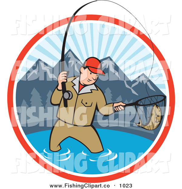 Clip Art of a Cartoon White Man Fly Fishing in a Mountainous Lake Circle