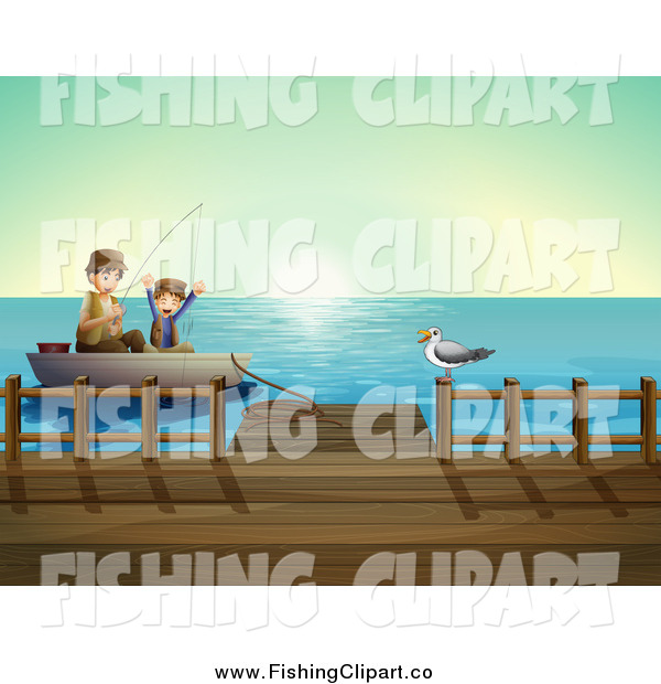 Clip Art of a Caucasian Father and Son Fishing by a Dock