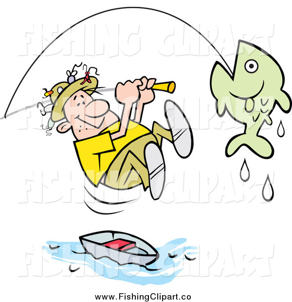 Clip Art of a Caucasian Male Fisherman Leaping from His Boat to Reel in a Fish