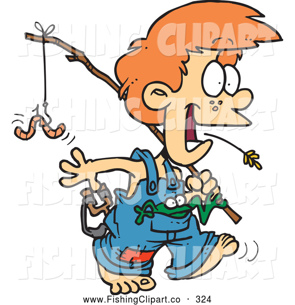 Clip Art of a Cheerful Cartoon Country Boy Carrying a Fishing Pole