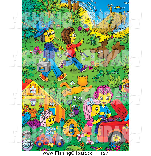Clip Art of a Cheerful Family and Pets in a Riverfront Yard