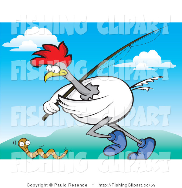 Clip Art of a Chicken with a Fishing Pole Chasing a Worm