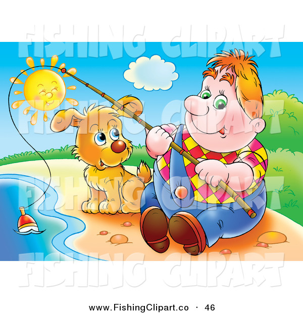 Clip Art of a Chubby White Man Sitting on the Shore with His Dog, Fishing on a Sunny Day