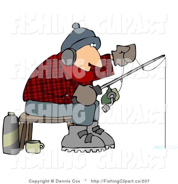 Clip Art of a Cold Man Ice Fishing in the Wintertime