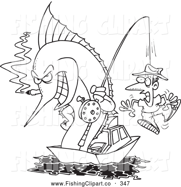 Clip Art of a Coloring Page of a Fishing Marlin with a Man on a Hook