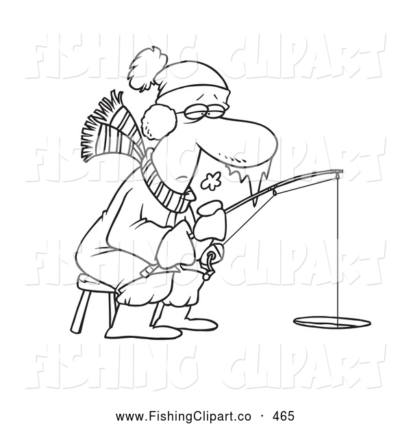 Clip Art of a Coloring Page of a Frozen Man Ice Fishing