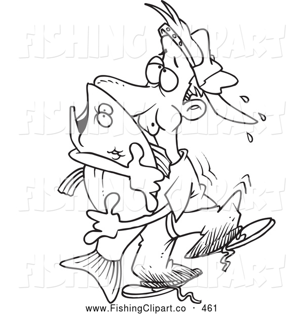 Clip Art of a Coloring Page of a Man Hugging a Bass Fish