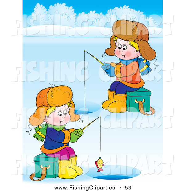 Clip Art of a Couple of Boys Ice Fishing on a Frozen Lake