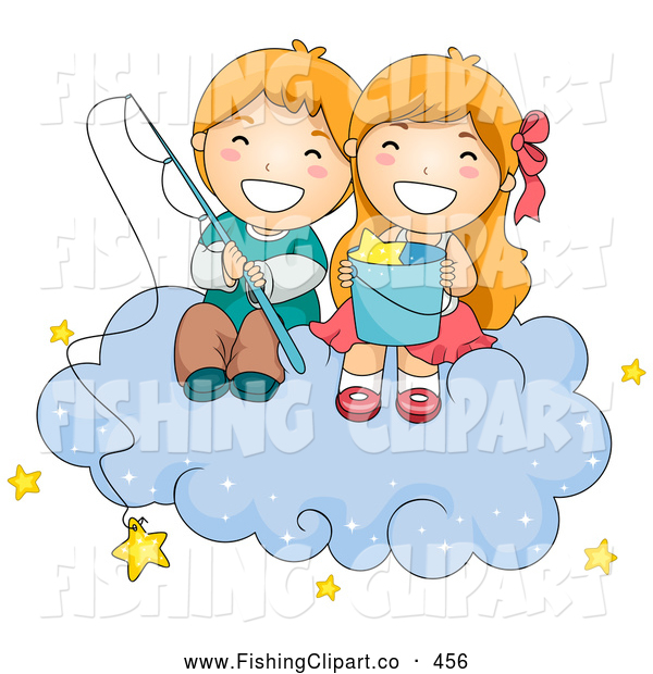 Clip Art of a Couple of Cheerful Children Fishing for Stars on a Cloud