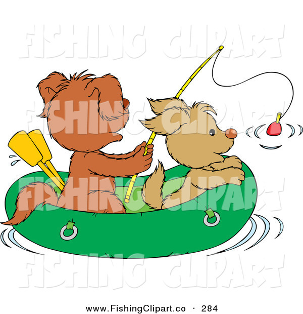 Clip Art of a Couple of Puppies Fishing in a Raft