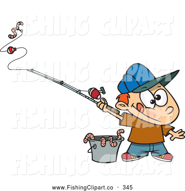 Clip Art of a Cute Cartoon Fishing Boy with a Bucket of Worms
