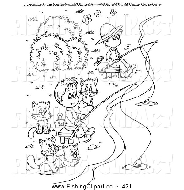 Free Little Boy Fishing Coloring Pages