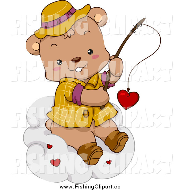 Clip Art of a Cute Fishing Bear Reeling in a Valentine Heart on a Cloud