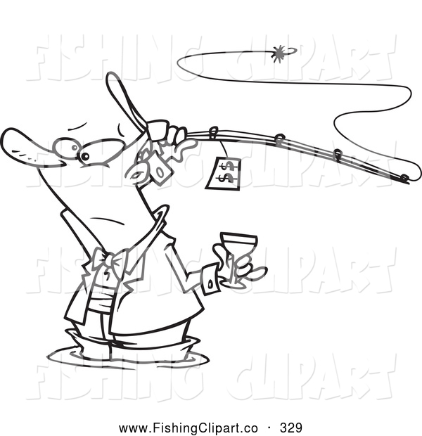Clip Art of a Cute Man Fancy Fishing with Wine