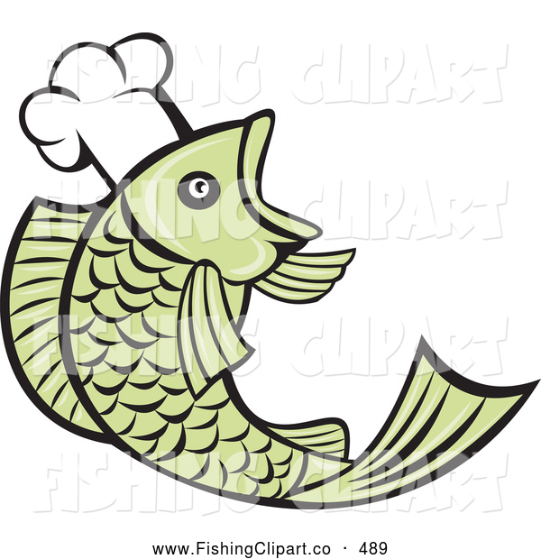 Clip Art of a Cute Retro Chef Fish Logo