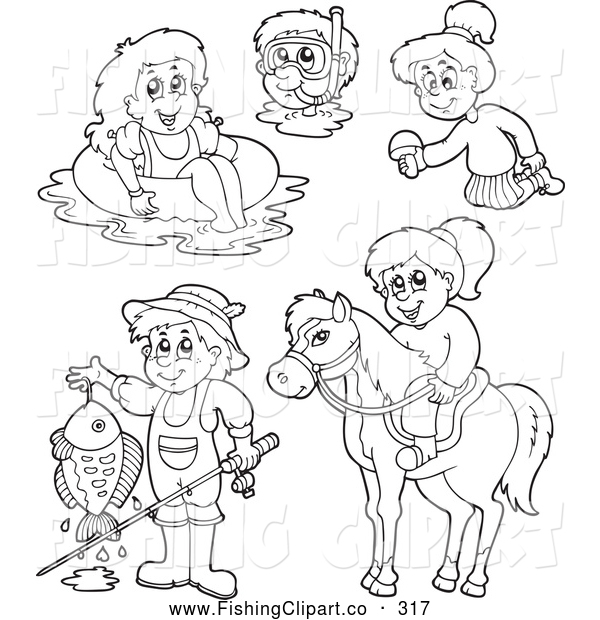 Clip Art of a Digital Collage of Coloring Page Outlines of Recreations - Horseback Riding, Fishing, Swimming, Snorkeling