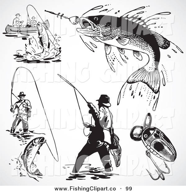 Clip Art of a Digital Group of Retro Black and White Fishermen and Fish
