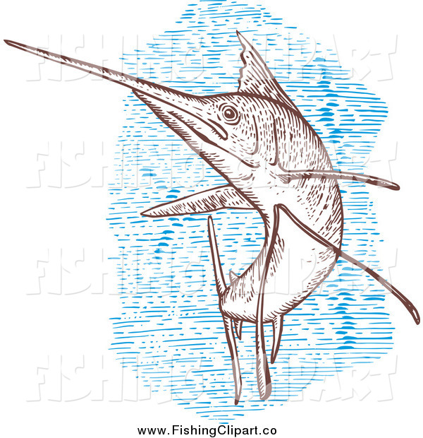 Clip Art of a Engraved Sailfish and Blue