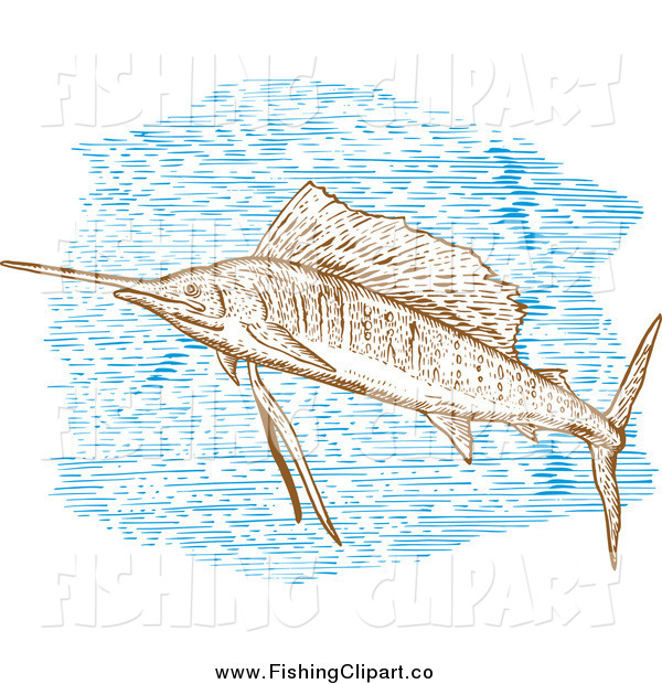 Clip Art of a Engraved Sailfish and Blue Water