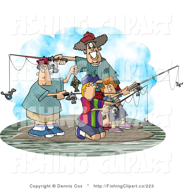Clip Art of a Family of Four Fishing Together on an Island on a Spring Day