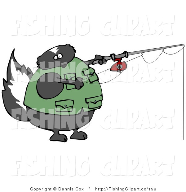 Clip Art of a Fat Skunk Wearing a Vest While Fishing