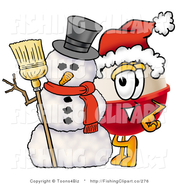 Clip Art of a Festive Fishing Bobber Mascot Cartoon Character with a Snowman on Christmas