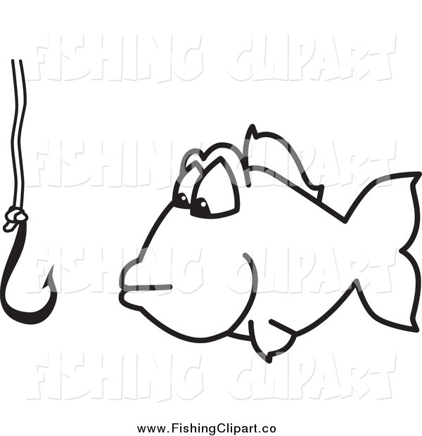 Clip Art of a Fish and Hook Fishing for Business