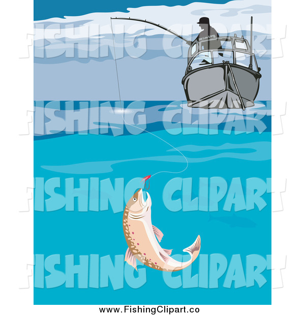 Clip Art of a Fish Biting a Lure Under a Fishers Boat