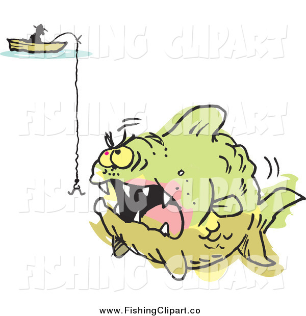 Clip Art of a Fisherman and a Hook over an Aggressive Monster Fish Colored Outside of the Lines