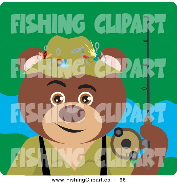 Clip Art of a Fisherman Brown Bear Character