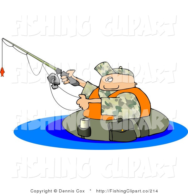 Clip Art of a Fisherman Fishing and Floating in a Tube