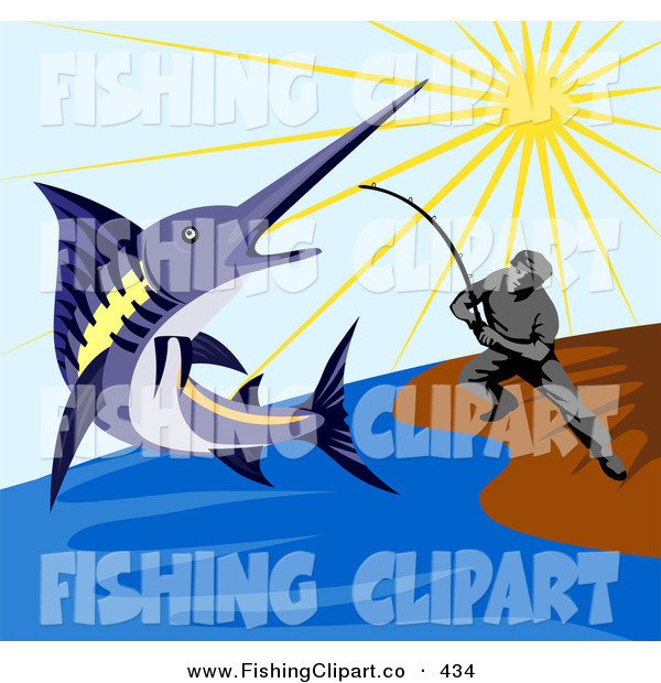 Clip Art of a Fisherman Reeling in a Blue Marlin on the Shore
