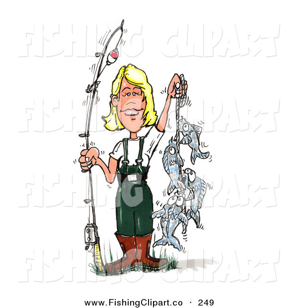 Clip Art of a Fishing Blond White Woman in Wading Gear, Holding a Fishing Pole and a Rope of Caught Fish