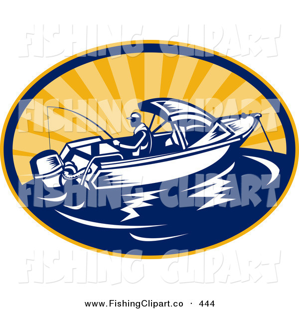 Clip Art of a Fishing Boat Logo out at Sea During a Sunrise or Sunset