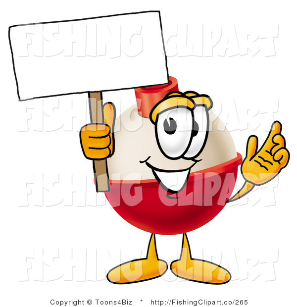 Clip Art of a Fishing Bobber Mascot Cartoon Character Holding a Blank White Sign
