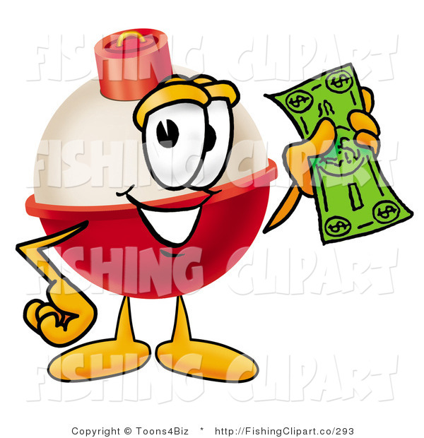 Clip Art of a Fishing Bobber Mascot Cartoon Character Holding a Dollar Bill in His Hand
