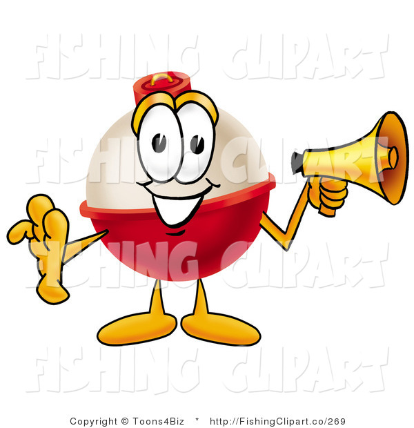Clip Art of a Fishing Bobber Mascot Cartoon Character Holding a Megaphone in Its Hand