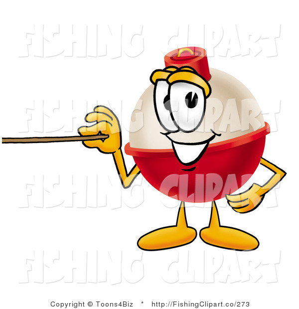 Clip Art of a Fishing Bobber Mascot Cartoon Character Holding a Pointer Stick and Smiling