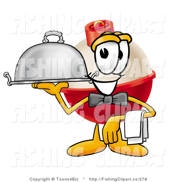 Clip Art of a Fishing Bobber Mascot Cartoon Character Serving a Thanksgiving Turkey on a Silver Serving Tray