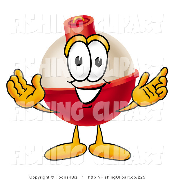Clip Art of a Fishing Bobber Mascot Cartoon Character with Welcoming Wide Open Arms