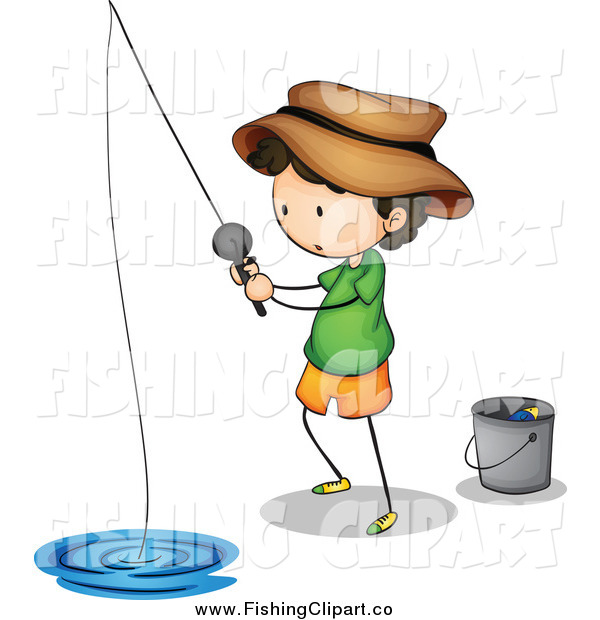 Clip Art of a Fishing Boy with a Pail
