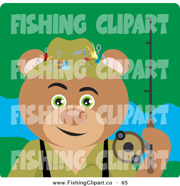 Clip Art of a Fishing Brown Teddy Bear Character