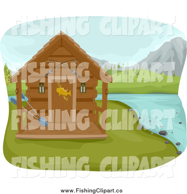 Clip Art of a Fishing Cabin on a Lake with Mountains in the Distance